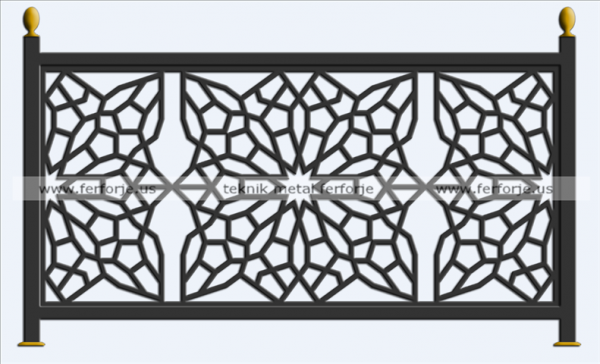 Lazer Kesim Metal Balkon Demirleri Kod: TBL-80