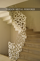 Ferforje lazer kesim merdiven korkulugu beyaz renk  Teknik metal kod: TMD-06