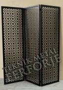 lazer kesim dekoratif motifli siyah paravan seperator ara bolme ayirici teknik metal kod: TPR-102