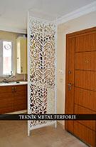 lazer kesim dekoratif sik motifli paravan seperator ara bolme ayirici teknik metal kod: TPR-73